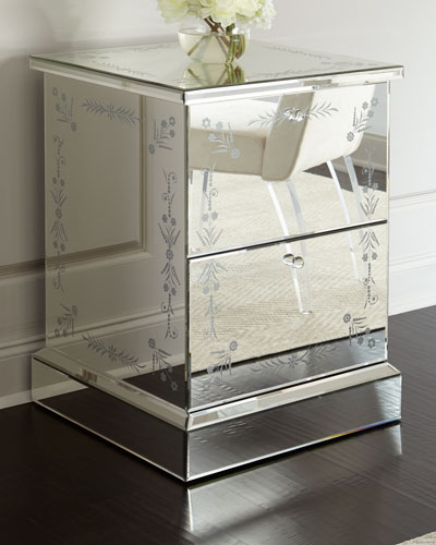 Venetian-Style Mirrored 2-Drawer File Box