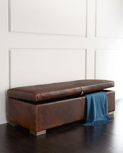Leonard Leather Storage Bench