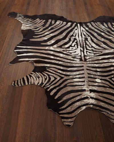 Crisp Zebra Print Hairhide Rug, 5u0027 X 7u0027