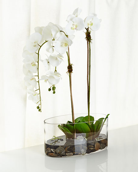 Orchids in Glass Faux-Floral Arrangement