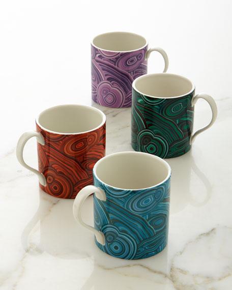 Malachite-Patterned Mugs, 4-Piece Set