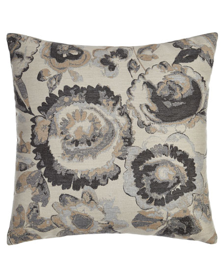 Smoky Floral Outdoor Pillow
