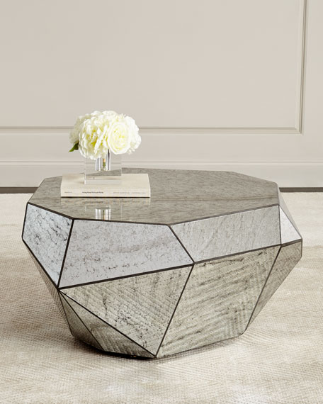 Dimensional Antiqued-Mirror Coffee Table - Marble & Mirrored Coffee Tables At Neiman Marcus Horchow