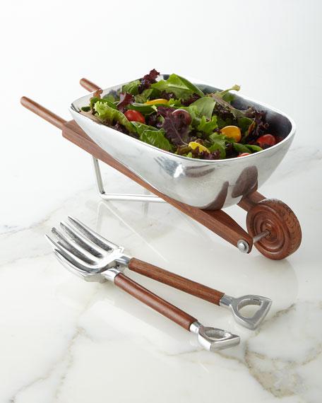 Godinger Wheelbarrow Salad Bowl with Servers