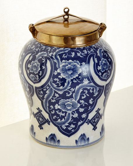 Small Blue and White Lidded Jar
