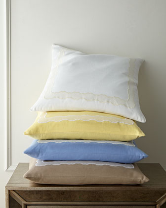 Embroidered Linen Pillow  22Sq.