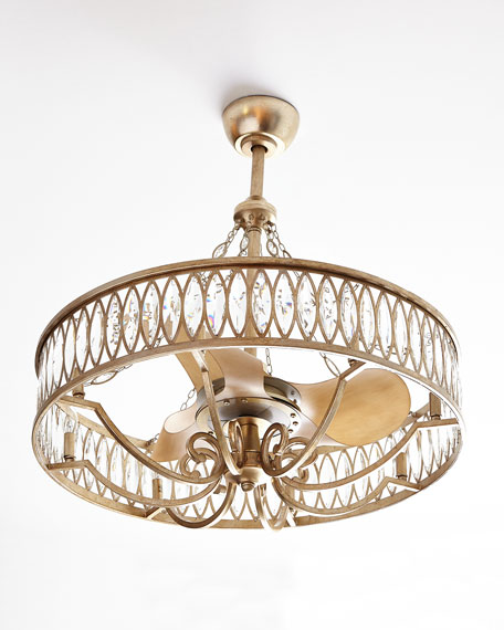 Crystal 8-Light Pendant with Fan