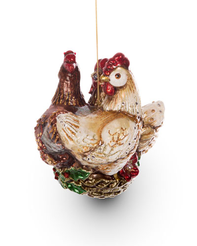Three French Hens Glass Ornament