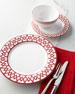 12-Piece Red Geometric Dinnerware Service