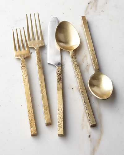 20 Piece Mala Flatware Set, Yellow Metallic