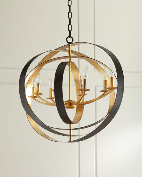 Crystorama Luna 8-Light Bronze Oval Chandelier