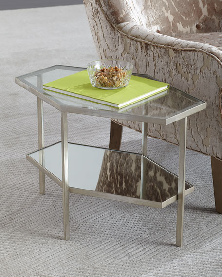 Global Views Valeria Hexagon Side Table, 18