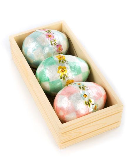 Pastel Large Floral Eggs, Set of 3