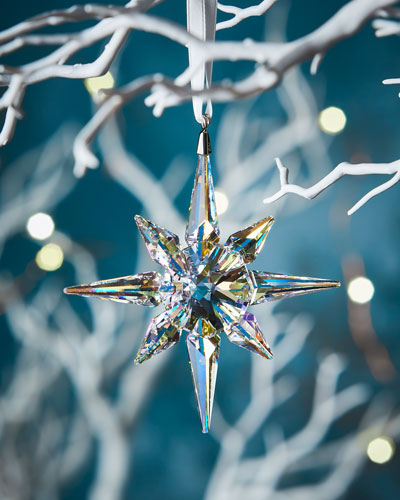 Clear Crystal Star Christmas Ornament