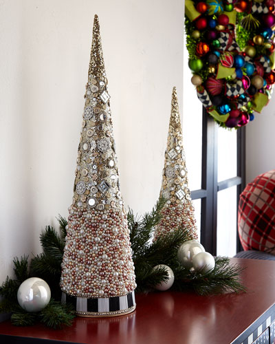 Silver Lining Beaded Large Tabletop Christmas Tree