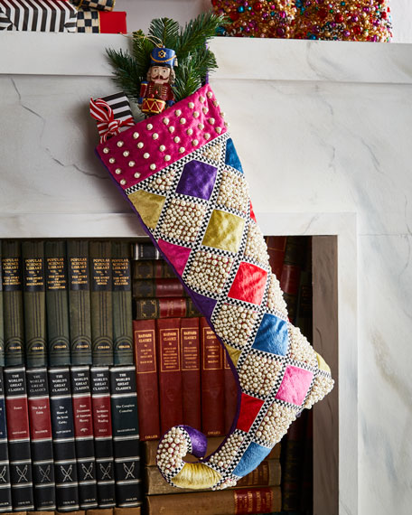 MacKenzie-Childs Bijou Diamond Christmas Stocking