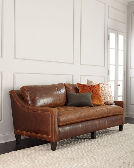 Massoud Markel Biscuit Tufted Leather Sofa 84