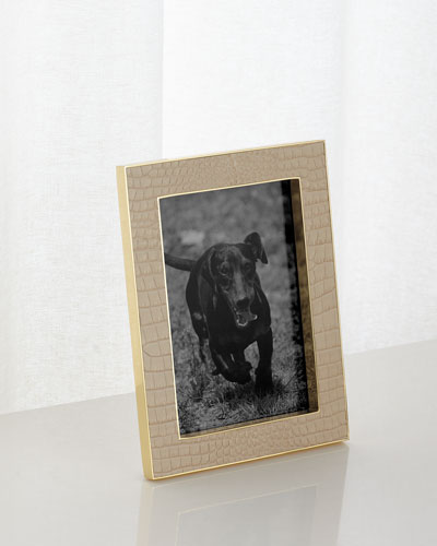 Classic Croc-Embossed Leather Frame  5 x 7