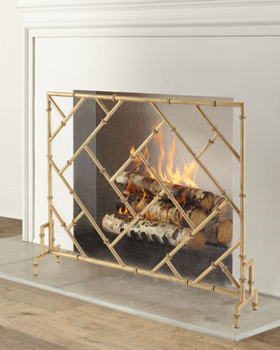 Bamboo Design Single Panel Fireplace Screen