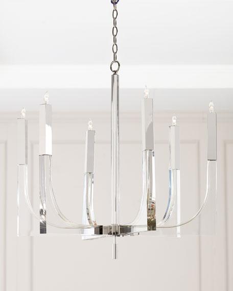 Acrylic & Nickel 6-Light Chandelier