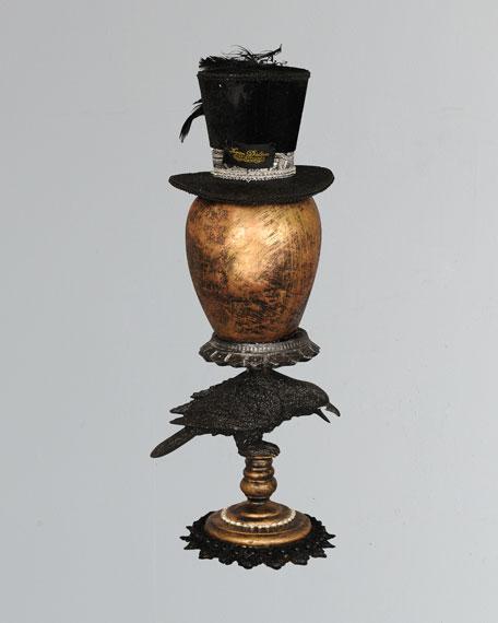 Gold Skull & Raven Pedestal