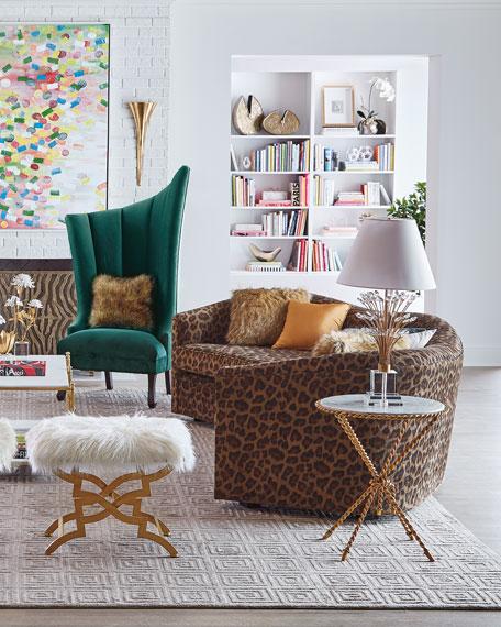 "Kylee Leopard Sofa, 126"""