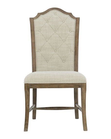 Rustic Patina Tufted Side Chairs, Set of Two
