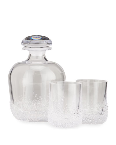 Sterling Pond Decanter with 2 Double Old-Fashioned Glasses