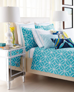 Turquoise Trellis Bedding & 400TC Palm Springs Block Sheet Set