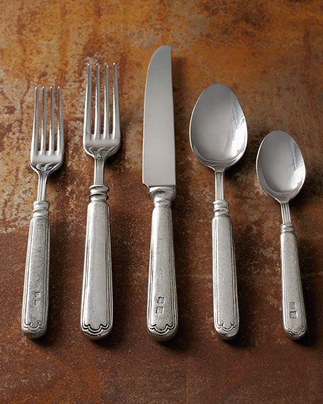 Five-Piece Filet Pewter Flatware Place Setting