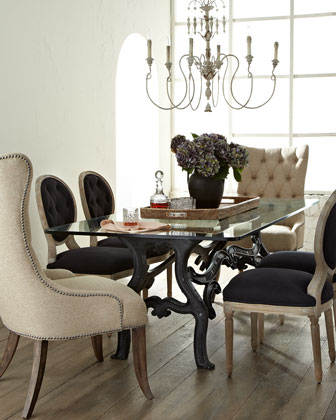 Stockard Dining Table  Donabella Tufted Chairs  & Black Linen Chairs