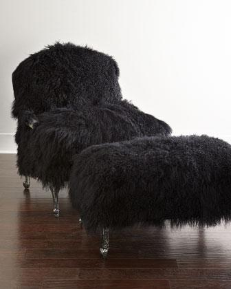 Worthen Noir Sheepskin Chair & Ottoman