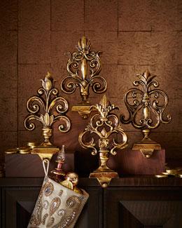 Antiqued-Gold Baroque Stocking Hooks