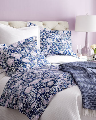 Navy & Lilac Floral Bedding