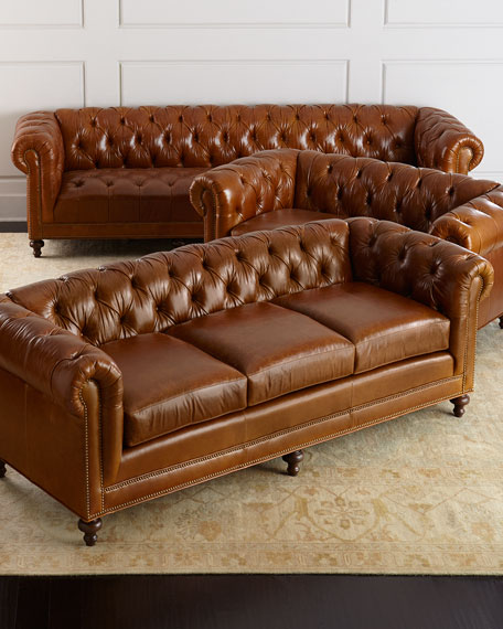 "Davidson 119"" Tufted Seat Chesterfield Sofa"
