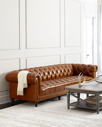 Davidson Tufted-Seat Chesterfield Sofa