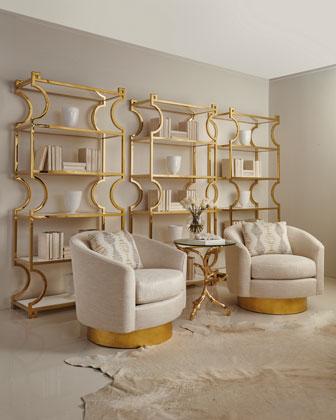 Haywood Swivel Chair & Brass Etagere