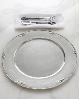 "ValPeltro ""Petite Scroll"" Pewter Charger Plate"
