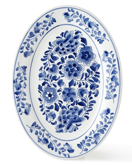 Neiman Marcus Assorted Blue & White Oval Platter