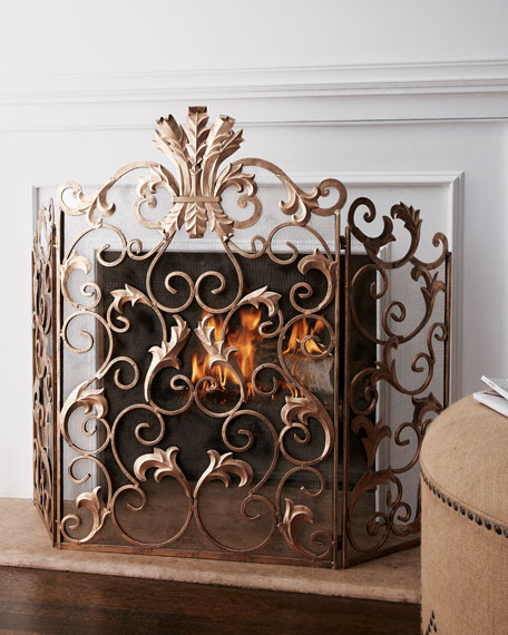 Shop gold fireplace screen at Horchow
