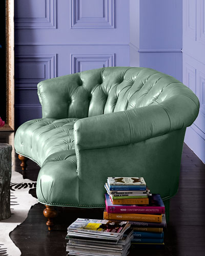 Turquoise Leather Sofa 71