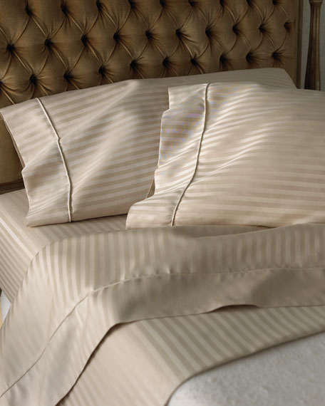 SFERRA Queen 600 Thread Count Pima Stripe Sheet