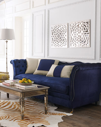 Horton Navy Velvet Tufted Sofa 90