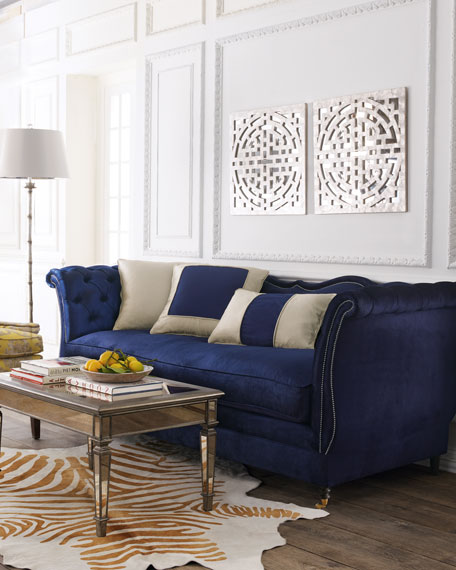 Horton Navy Velvet Tufted Sofa 90""