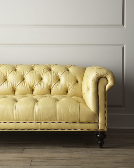 Morgan Sunshine Chesterfield Leather Sofa 86""
