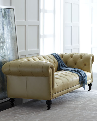 Morgan Sunshine Chesterfield Leather Sofa 86