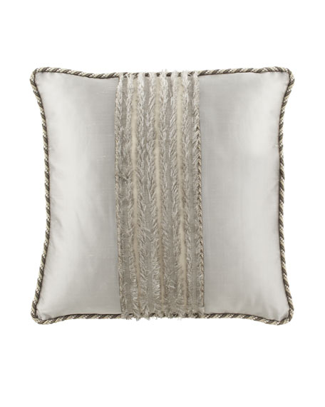 "Pure Pewter European Sham with ""Eyelash"" Center, Silk Sides, & Cording"