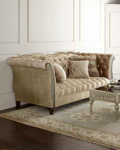 Haute House Leslie Mirrored Tufted Sofa