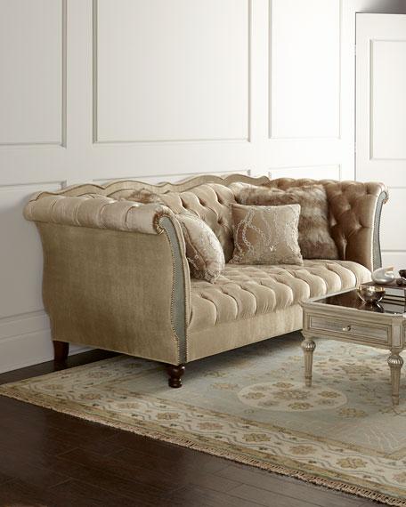 Leslie Mirrored Tufted Sofa