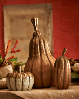 Wood Pumpkins, 5-Piece Set